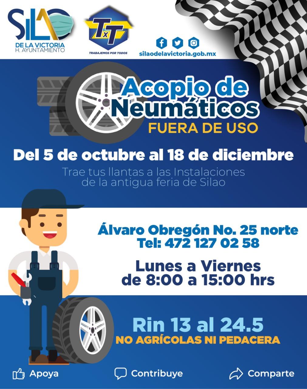 Invitan a participar a campañas de acopio de neumáticos y electrónicos