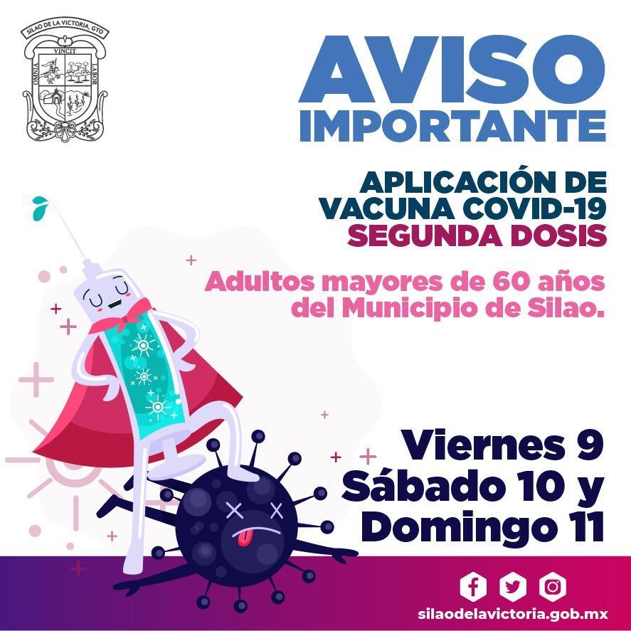 9,10 y 11 de abril se aplicará la segunda dosis de la vacuna COVID-19