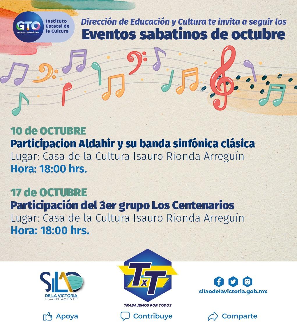 """Casa de la Cultura invita a sus """"Eventos Sabatinos de octubre"""""""